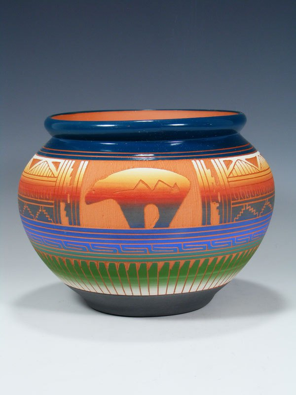 Navajo Bear Turtle Pottery Vase