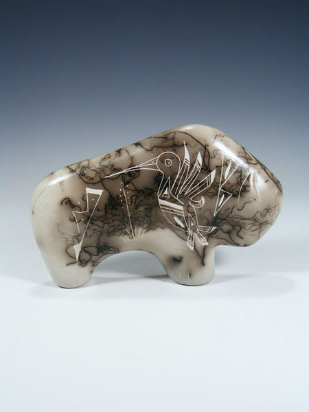 Etched Horsehair Pottery Buffalo Figurine