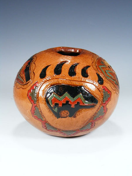 Navajo Hand Coiled Pine Pitch Carved Bear Paw Seed Pot