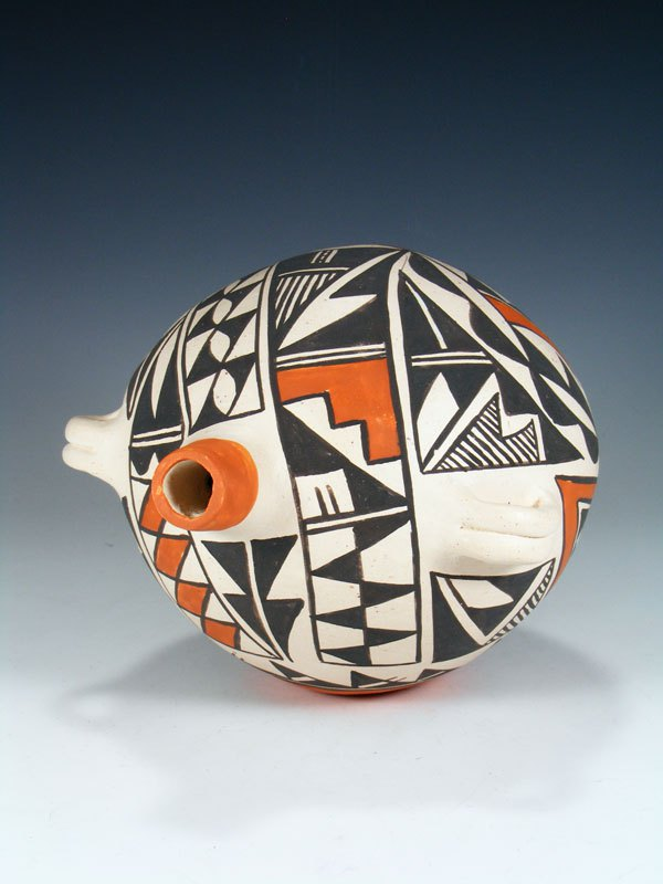 Acoma Pueblo Hand Coiled Pottery Canteen