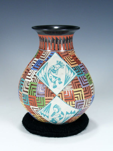 Mata Ortiz Hand Coiled and Etched Kokopelli Pottery