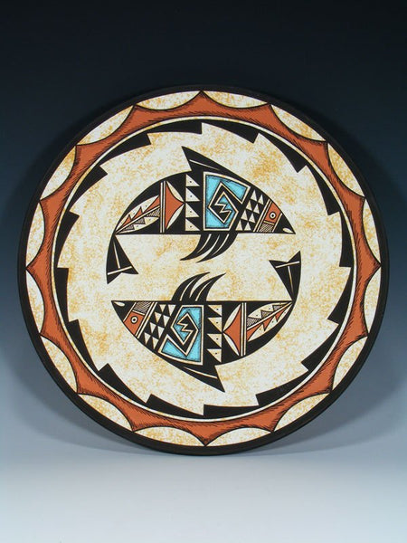 Acoma Pueblo Pottery Painted Fish Plate