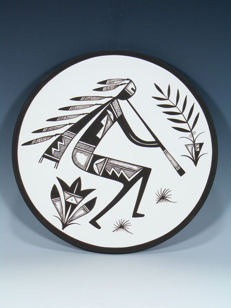 Acoma Pueblo Pottery Painted Flute Player Plate
