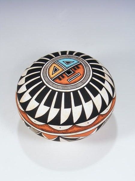Acoma Pueblo Hand Coiled Pottery Sunface Seed Pot