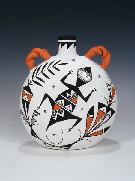 Acoma Pueblo Pottery Painted Gecko Canteen