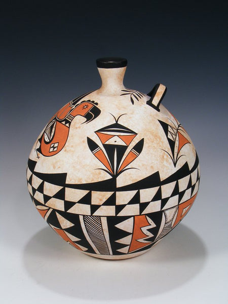 Acoma Pueblo Hand Coiled Pottery Parrot Pot