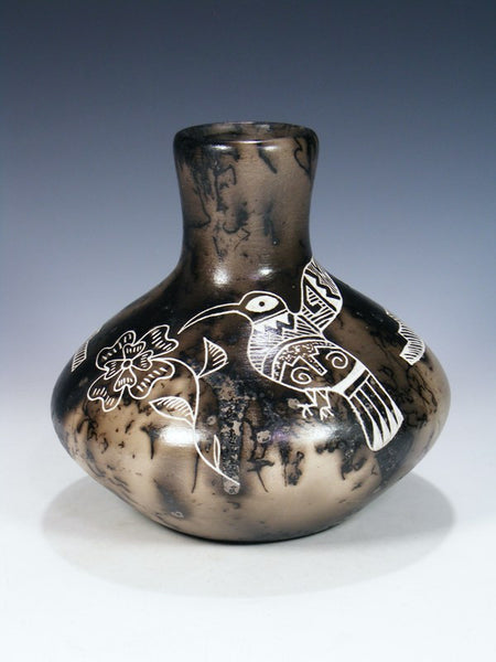 Etched Pottery Horsehair Vase