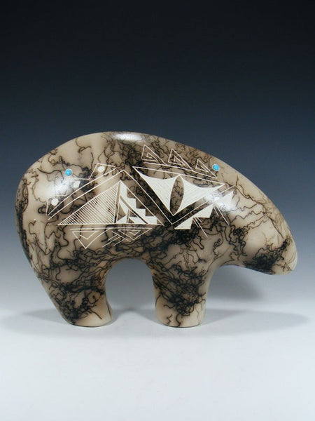 Acoma Etched Horsehair Pottery Bear