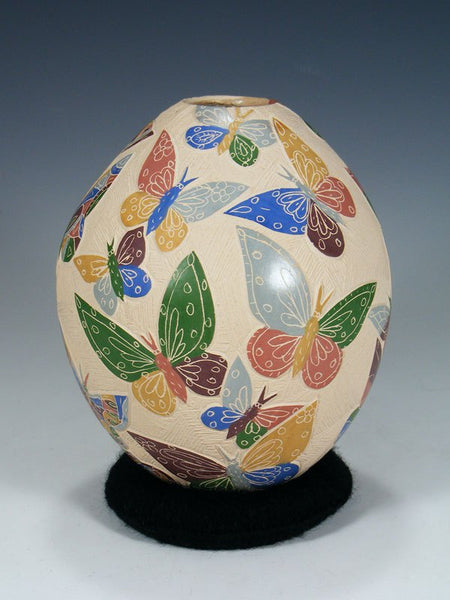 Traditional Mata Ortiz Carved Pottery Butterfly Vase