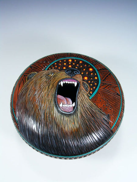 Navajo Etched Bear Hand Painted Pottery Seed Pot