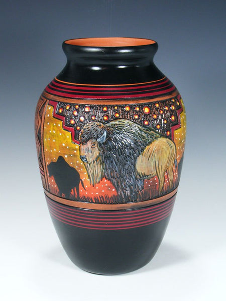 Navajo Etched Bison Hand Painted Pottery Vase
