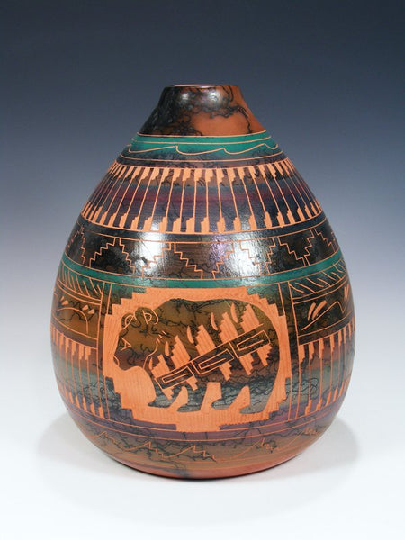 Etched Bear Navajo Horsehair Pottery Vase