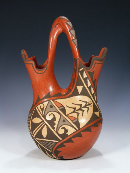 Jemez Pueblo Pottery Hand Painted Wedding Vase