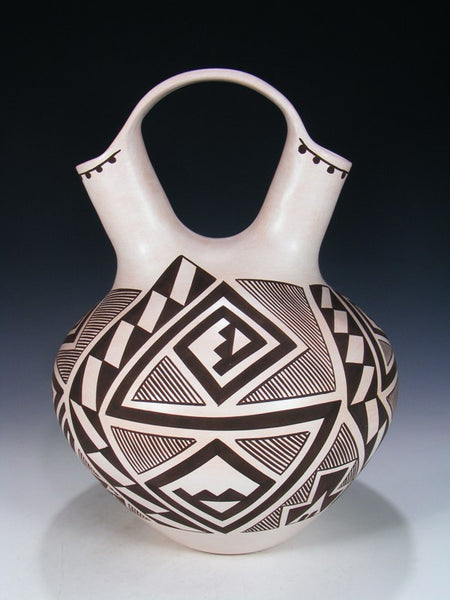 Laguna Acoma Pueblo Hand Coiled Pottery Wedding Vase
