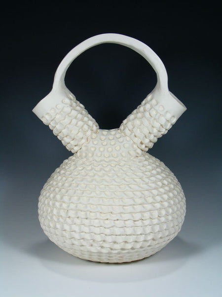 Acoma Hand Coiled Pottery White Clay Wedding Vase