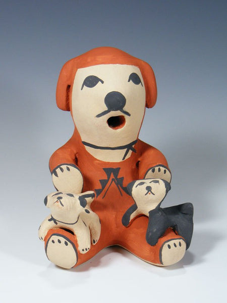 2 Baby Jemez Pueblo Pottery Storyteller Dog Family Figure
