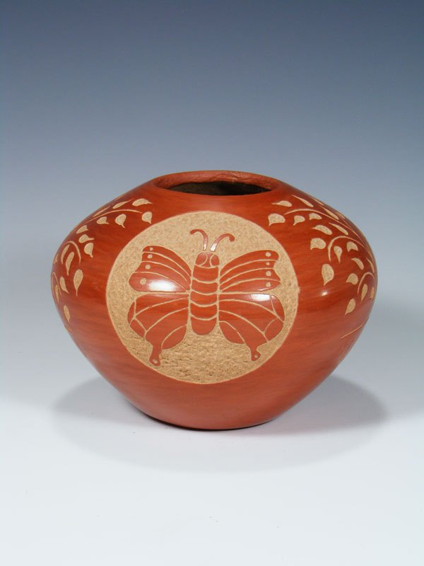 Etched Jemez Pueblo Pottery Butterfly Seed Pot