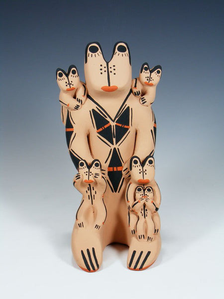 Cochiti Pueblo Pottery Frog Family Storyteller Figurine