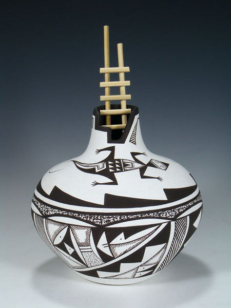 Black and White Hand Coiled Acoma Pueblo Pottery