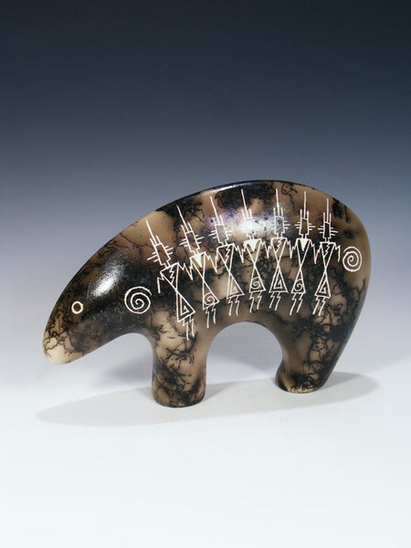 Friendship Dancer Etched Pottery Horsehair Bear