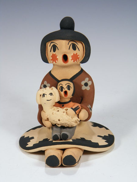 Jemez Pueblo Pottery Child With Lamb Storyteller Doll
