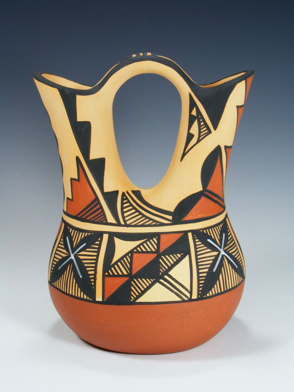 Jemez Pueblo Hand Coiled Pottery Wedding Vase