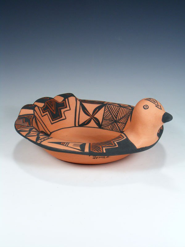 Jemez Pueblo Hand Coiled Pottery Bird Bowl