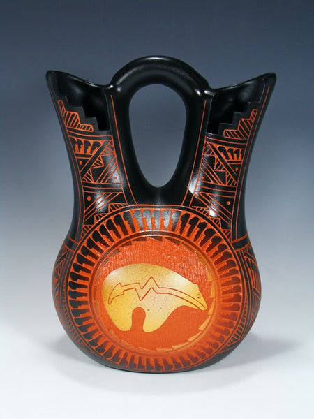 Acoma Pueblo Etched Pottery Wedding Vase