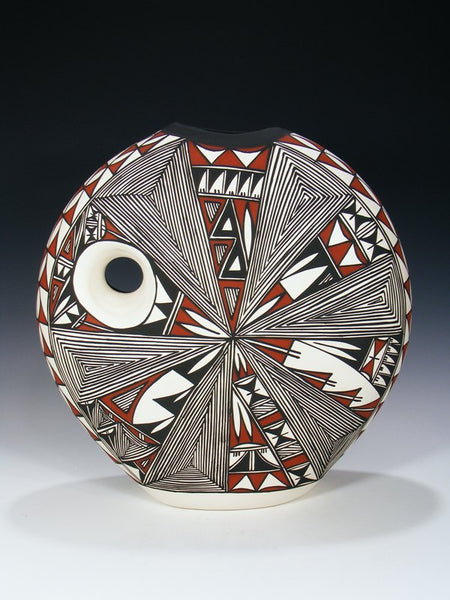Acoma Pueblo Etched Pottery Eagle Dancer Pillow Pot