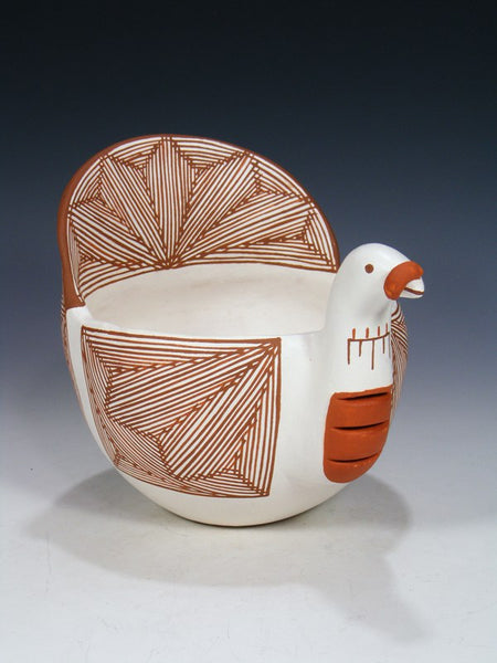 Acoma Pueblo Hand Coiled Pottery Turkey Bowl