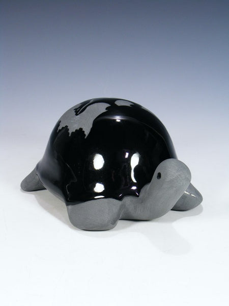 San Juan Pueblo Black Pottery Bear Design Turtle