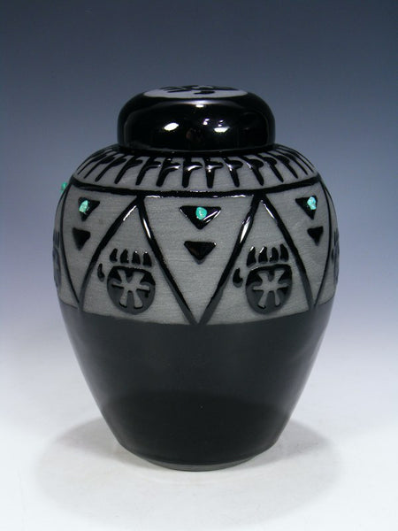San Juan Pueblo Black Pottery Vase With Lid