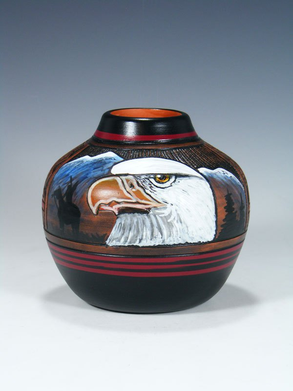 Navajo Etched Eagle Pottery