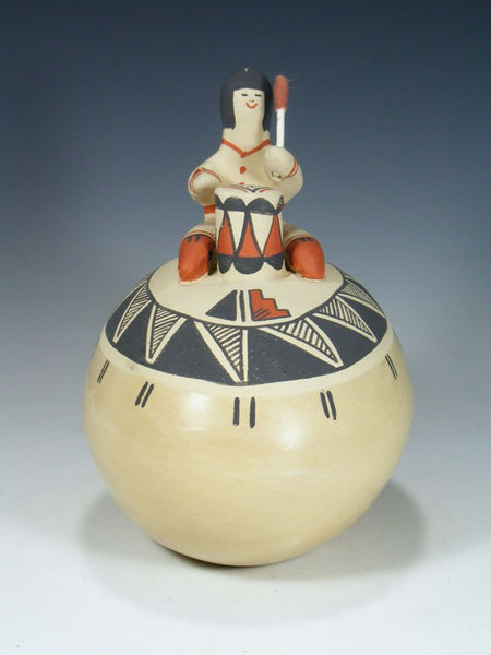 Jemez Pueblo Hand Coiled Pottery with Drummer