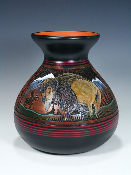 Navajo Etched Bison Hand Painted Pottery