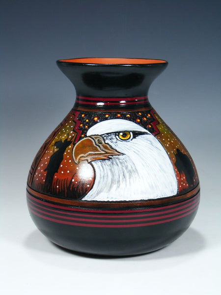Navajo Etched Eagle Hand Painted Pottery Vase
