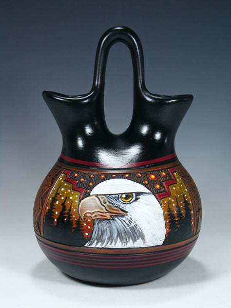 Navajo Painted Eagle Hand Etched Wedding Vase