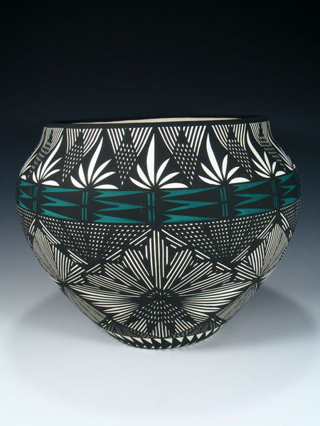 Acoma Pueblo Black and White Fine Line Pottery Bowl