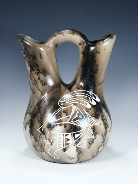 Acoma Etched Horsehair Pottery Wedding Vase