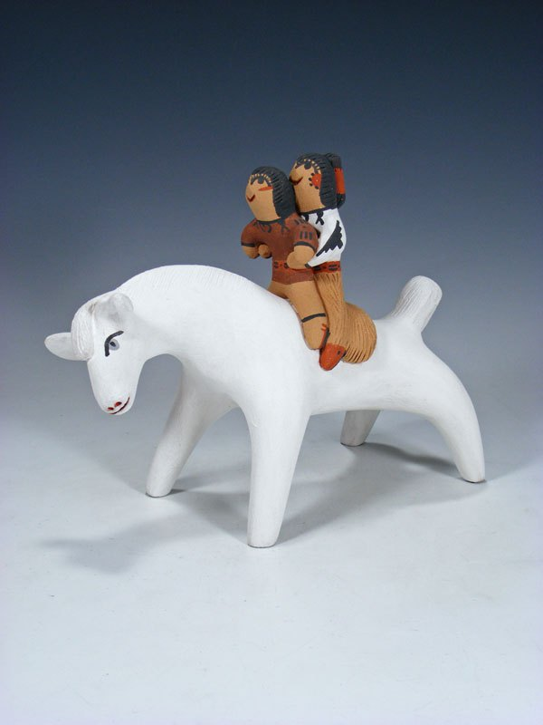 Jemez Pueblo Pottery Storyteller Horse with Children
