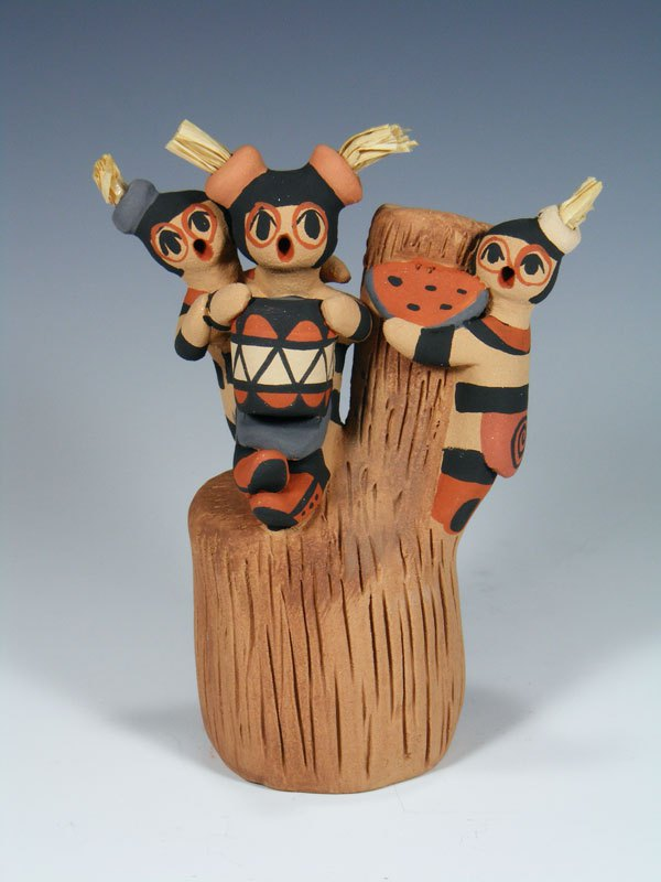 Jemez Pueblo Pottery Koshare Clown Storyteller Doll Family