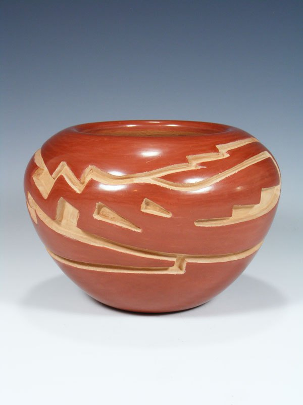 Santa Clara Pueblo Hand Coiled Red Pottery Bowl