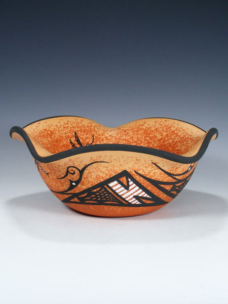 Zuni Pueblo Hand Coiled Lizard Pottery Bowl