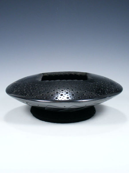 Mata Ortiz Hand Coiled Black Pottery Carved Pottery