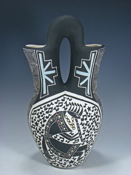 Santa Ana Etched Pottery Kokopelli Wedding Vase