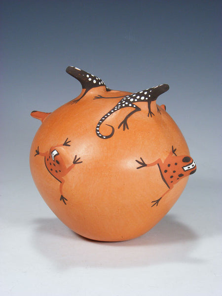 Zuni Pueblo Frog and Lizard Pottery Seed Pot