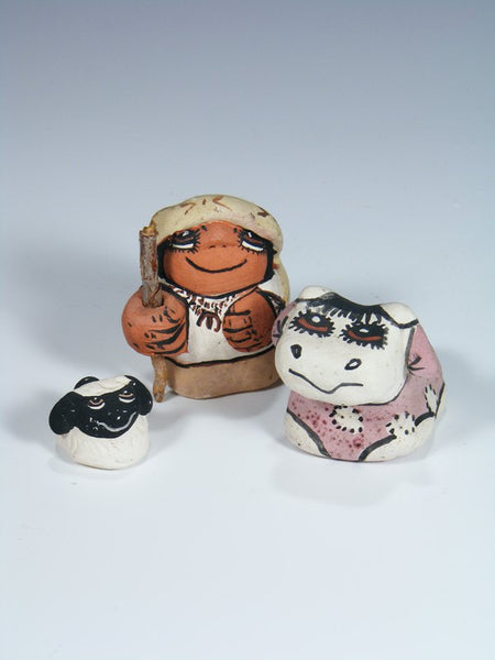 3 Piece Jemez Pueblo Pottery Nativity Shepard Set