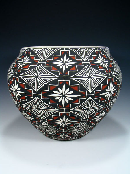 Large Acoma Pueblo Hand Painted Pottery Bowl
