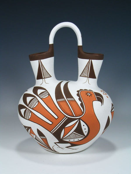 Acoma Pueblo Parrot Pottery Painted Wedding Vase