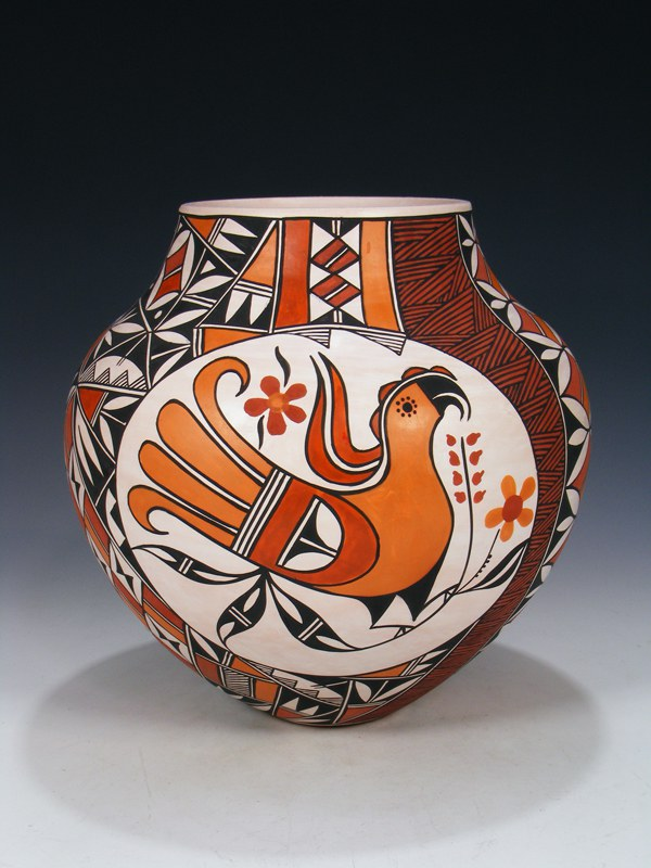 Acoma Pueblo Hand Coiled Parrot Pottery Vase